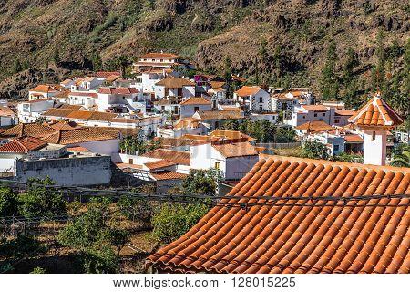 View On Fataga Village Located In Barranco de Fataga Valley - Gran Canaria Canary Islands Spain