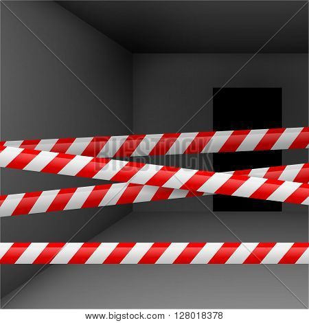 Dark room with red and white danger tape. Crime or emergency scene