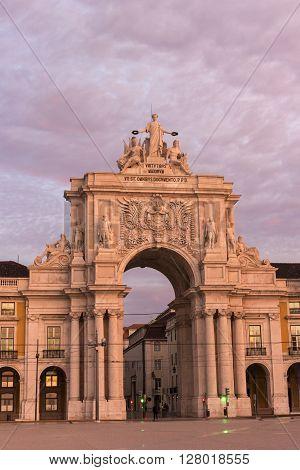 Rua Augusta Arch in Lisbon in Portugal