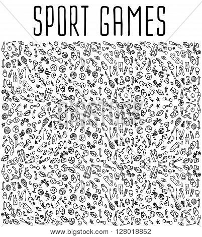 Sport games hand drawn seamless pattern. Backgrounds Sport games, wrapping, wallpapers Sport games, textile prints. Vector illustration of doodle Sport games elements