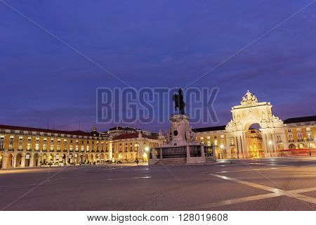 Commerce Square with Rua Augusta Arch in Lisbon in Portugal in the morning