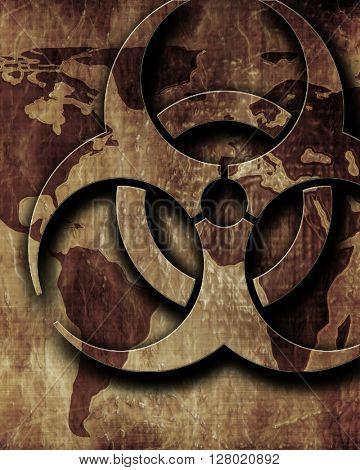 Bio hazard sign on a grunge background