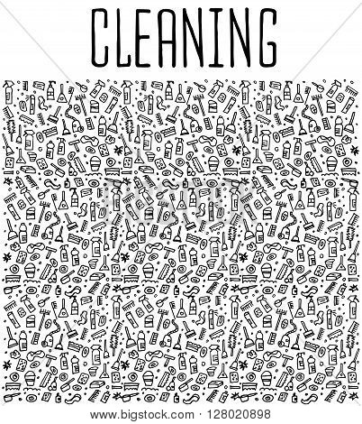 Hand drawn cleaning tools seamless pattern, cleaning tools doodles elements, cleaning seamless background. cleaning sketchy illustration