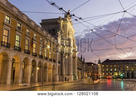 Rua Augusta Arch in Commerce Square in Lisbon in Portugal in the morning