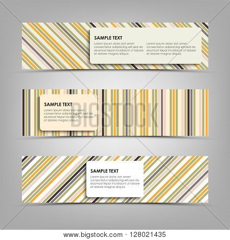 Horizontal banners with abstract stripes template vector eps 10
