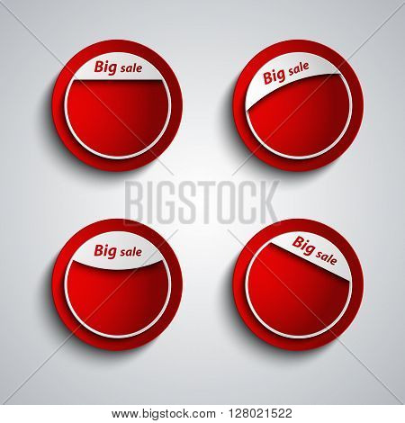 Red design label sticker with the inscription big sale vector eps 10