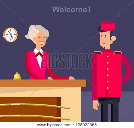 Hotel staff and service, reception,  detailed character porter cool flat tourism elements