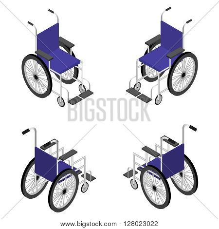 Wheelchair detailed isometric icon vector graphic illustration. 3d render