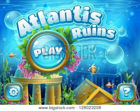 Atlantis ruins - vector illustration boot screen to the computer game. Bright background image to create original video or web games graphic design screen savers.