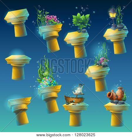 Big set of antique columns with different elements of the algae corals sunken ship amphora lantern flowers. To create original video or web games graphic design screen savers.