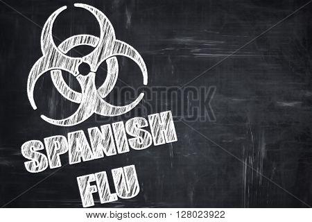 Chalkboard writing: Spanish flu concept background