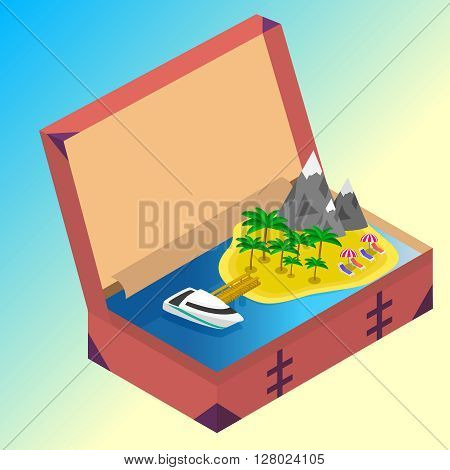 Trip to Summer holidays. Travel to Summer holidays. Vacation. Road trip. Tourism. Travel banner. Open suitcase with landmarks Sea and island. Journey. Travelling 3d isometric illustration. Modern flat design banner