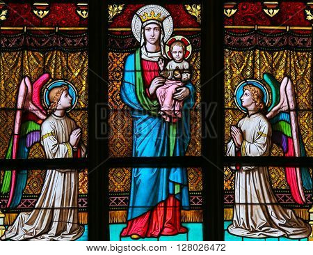 Stained Glass - Mother Mary And Angels