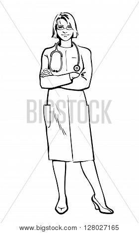 Realistic Physicians upright. Should the doctor a young girl. man in a medical dressing gown. People stand with his arms crossed. Doctors warn. A close look. Hand-drawn style.