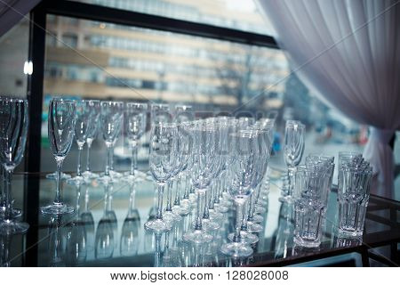 Glasses of champagne and wine. DOF. Tableware