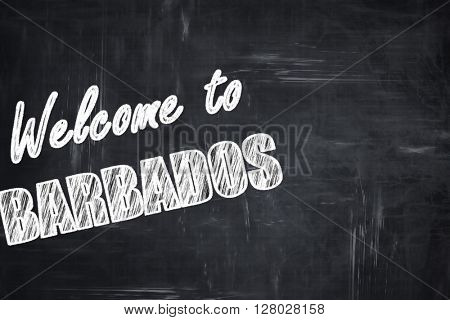 Chalkboard background with chalk letters: Welcome to barbados