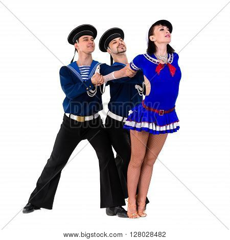 dancer team dressed as a sailors posing. Isolated on white background in full length.