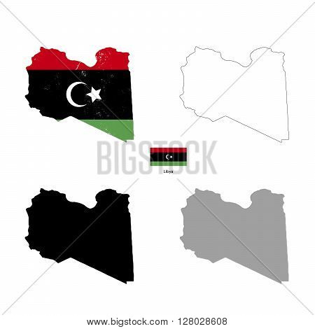Libya country black silhouette and with flag on background isolated on white