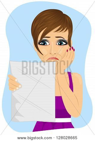 young unhappy woman reading a letter with bad news on blue background