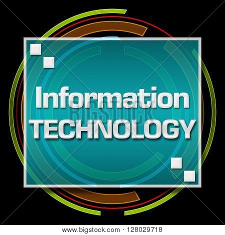 Information technology text written over dark colorful background.