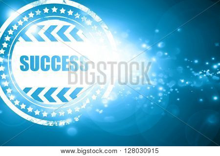 Blue stamp on a glittering background: Success sign with smooth