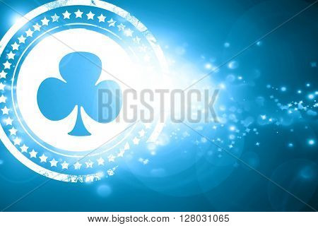 Blue stamp on a glittering background: Clubs card background