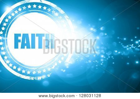 Blue stamp on a glittering background: faith