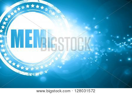Blue stamp on a glittering background: meme