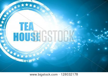 Blue stamp on a glittering background: tea house sign