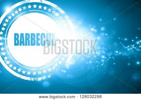 Blue stamp on a glittering background: Delicious barbecua sign