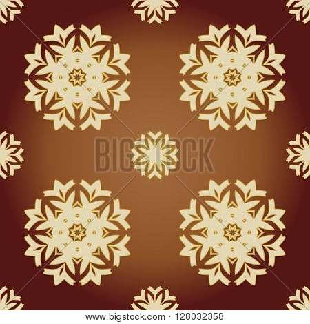Beautiful elegant brown snowflake geometric pattern. There is a variant in a vector.