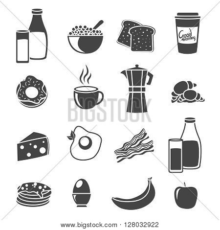Flat icon set with sillhouettes of common breakfast elements food and dishes vector illustration
