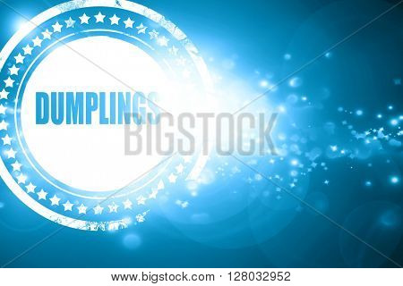Blue stamp on a glittering background: Delicious dumplings sign