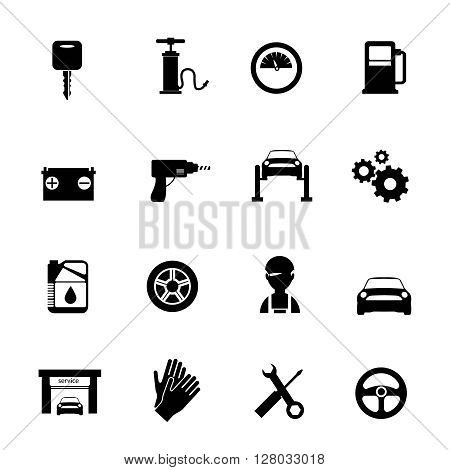 Auto service flat icons set in black color with mechanic car garage tools station isolated vector illustration
