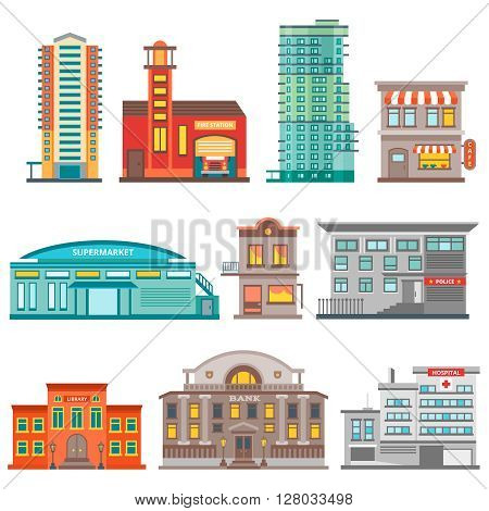 Isolated city buildings icon set different heights residential buildings business centers and public buildings  vector illustration