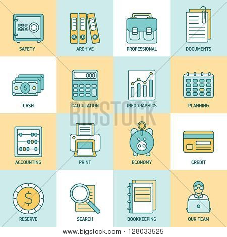 Flat icon set with colored accauntant accessories and elements for bookkeeping vector illustration
