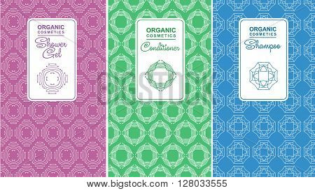 Seamless logo with label for organic cosmetics, shampoo, shower gel, balm packaging. Linear vector illustration for organic cosmetics