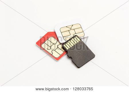 Sim Card,sim Card Adapter, Sim Card Eject Tool, Digital Media Put On White Background