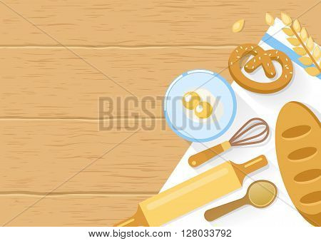 Baked products and cooking tools composition with bagel wheat eggs in bowl on wooden background vector illustration