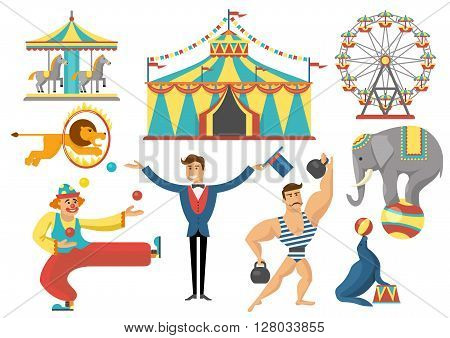 Circus decorative flat icons set with rides striped tent trained animals strongman clown isolated vector illustration