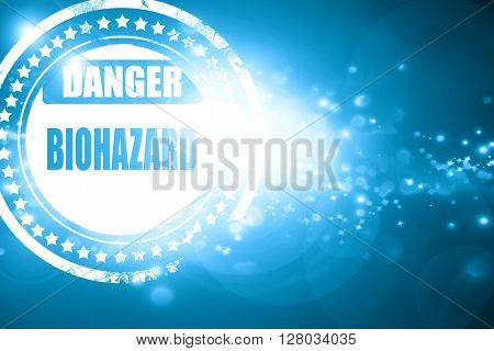 Blue stamp on a glittering background: Biohazard sign background
