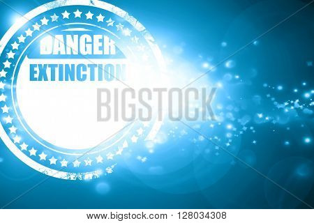 Blue stamp on a glittering background: apocalypse danger backgro