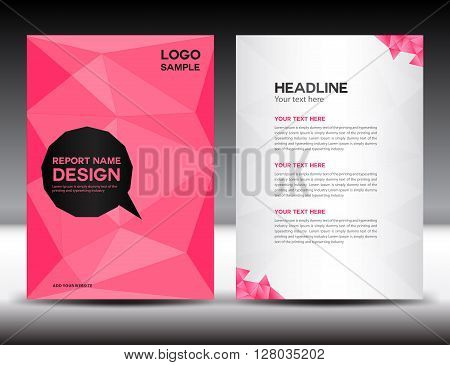 Pink Cover Annual report template brochure flyer leaflet booklet poster polygon background