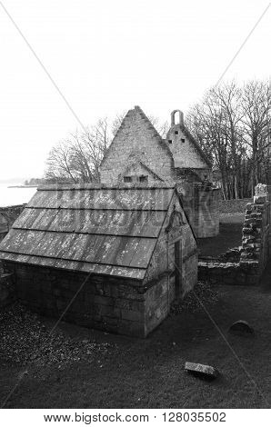 A view of the old buildings of St. Bridgets Kirk
