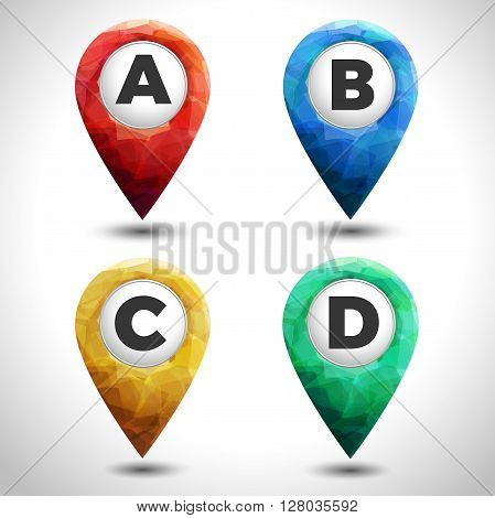 set of colorful pointers A B C D on white background with shadow. Red blue and yellow modern vector pointers set
