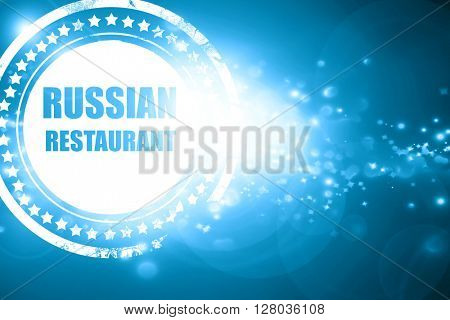 Blue stamp on a glittering background: Delicious russian cuisine