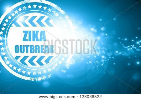 Blue stamp on a glittering background: Zika virus concept backgr