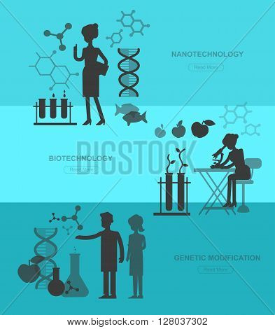 detailed character men woman scientis, laboratory technician looking through a microscope, Biotechnology icons concept, composition of genetic engineering, nanotechnology and genetic modification