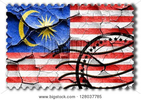 Grunge Malaysia flag with some cracks and vintage look
