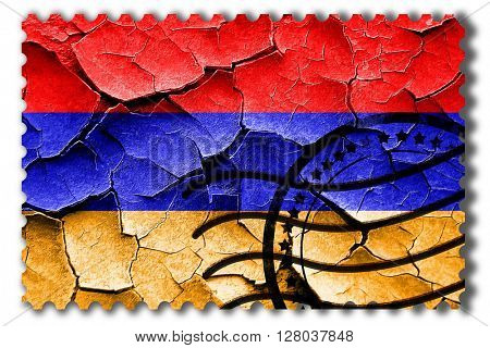 Grunge Armenia flag with some cracks and vintage look
